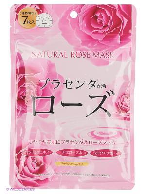 Japan Gals Курс натуральных масок для лица с экстрактом розы 7 шт. Цвет: прозрачный