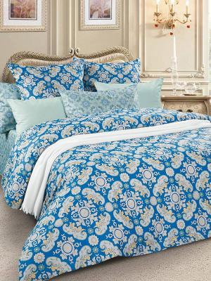 Комплект постельного белья, сатин, 1,5-спальный Letto. Цвет: синий, бирюзовый, голубой