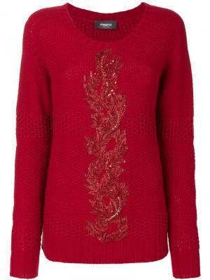 Вязаный свитер с вышивкой Jo No Fui. Цвет: красный
