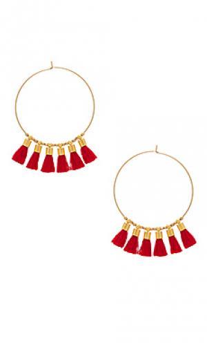 Серьги-кольца с бахромой sonia Mimi & Lu. Цвет: металлический золотой