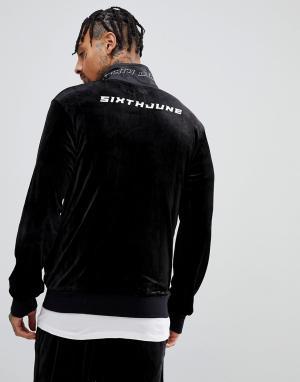 Sixth June Черная велюровая спортивная куртка с логотипом сзади. Цвет: черный