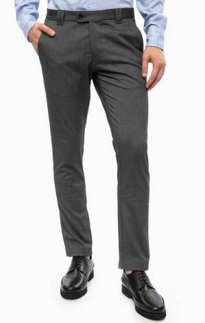 Серые зауженные брюки с карманами Cinque. Цвет: серый