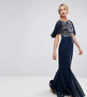 Amelia Rose Платье макси с расклешенными шифоновыми рукавами. Цвет: темно-синий