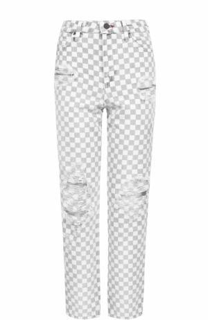 Укороченные джинсы в контрастную клетку Denim X Alexander Wang. Цвет: черно-белый