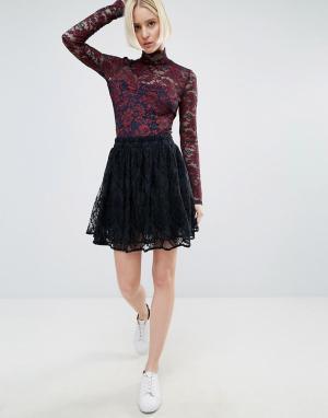 Ganni Кружевная мини-юбка Larkin. Цвет: темно-синий