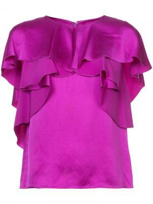 Блузка с оборками Monique Lhuillier. Цвет: розовый и фиолетовый