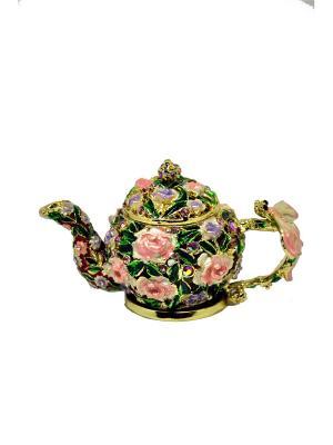 Шкатулка Чайник Yen Ten. Цвет: зеленый, бледно-розовый
