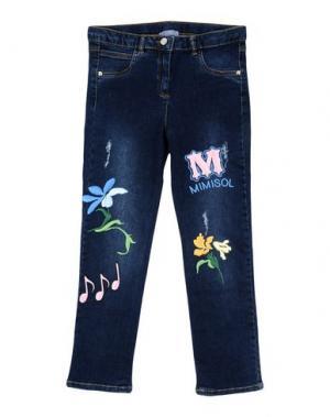 Джинсовые брюки MIMISOL. Цвет: синий