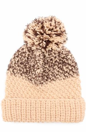 Шерстяная вязаная шапка с помпоном и отделкой металлизированной нитью 0711. Цвет: бежевый