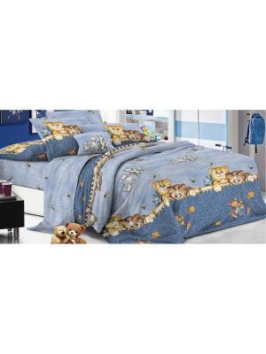 Комплект постельного белья 1,5сп, поплин BegAl. Цвет: серо-голубой