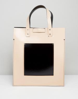 Leather Satchel Company Сумка-тоут телесного цвета с черным накладным карманом. Цвет: кремовый