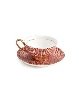 Подарочный чайный набор Версаль на 1 персону Русские подарки. Цвет: белый, бордовый, золотистый