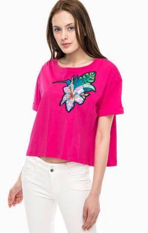 Хлопковая футболка оверсайз с яркой нашивкой Kocca. Цвет: фуксия