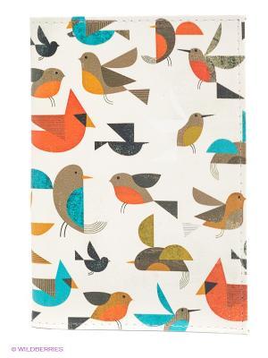 Обложка для паспорта Mitya Veselkov. Цвет: белый, оливковый, оранжевый