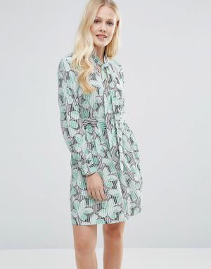 Closet London Платье с цветочным принтом и завязкой на бант. Цвет: мульти