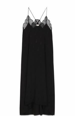Шелковое платье-комбинация с кружевной отделкой Zadig&Voltaire. Цвет: черный