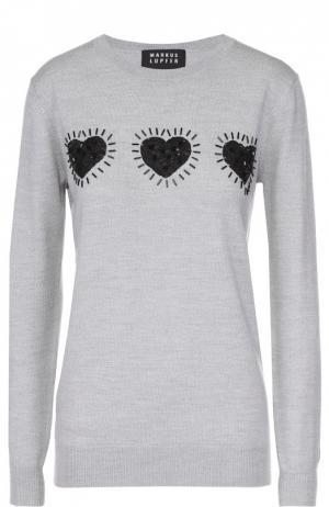Удлиненный пуловер с контрастной вышивкой пайетками Markus Lupfer. Цвет: светло-серый