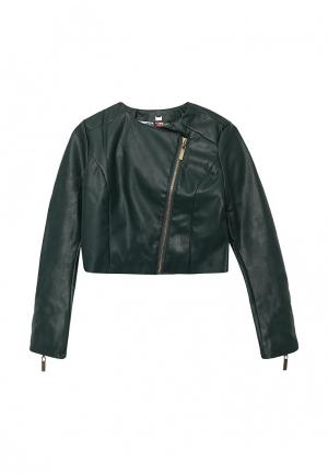Куртка кожаная Gulliver. Цвет: зеленый