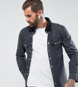 Liquor N Poker Рубашка с воротником из искусственного меха. Цвет: черный