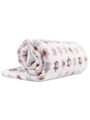 Одеяло трикотажное 75х90 Слоники DAISY. Цвет: светло-коричневый, молочный, светло-бежевый