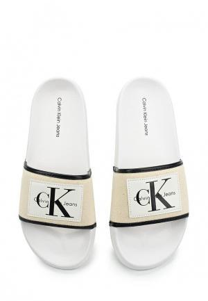 Шлепанцы Calvin Klein Jeans. Цвет: бежевый