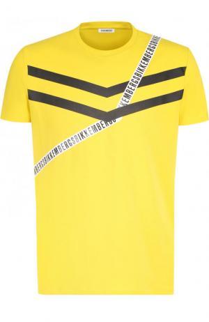 Хлопковая футболка с принтом Dirk Bikkembergs. Цвет: желтый