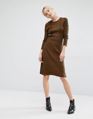 Gestuz Вязаная меланжевая юбка в рубчик Jannice. Цвет: зеленый