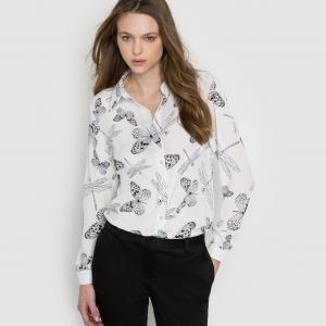 Рубашка с рисунком бабочки и стрекозы MOLLY BRACKEN. Цвет: черный/белый рисунок
