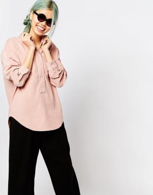 Zacro Блузка со складками сзади и скрытыми пуговицами. Цвет: розовый