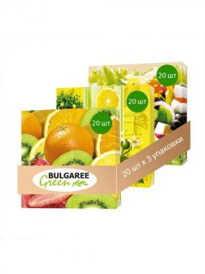Набор Летний Пикник из 3 упаковок трехслойных салфеток с ярким принтом, 3х20шт Bulgaree Green. Цвет: желтый