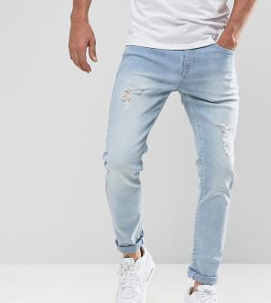 Brooklyn Supply Co. Светлые узкие джинсы с потертостями Co. Цвет: синий
