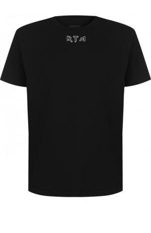 Хлопковая футболка с принтом RTA. Цвет: черный