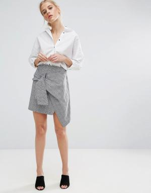 Zacro Асимметричная мини‑юбка. Цвет: серый