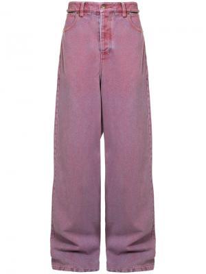Широкие джинсы с вырезными элементами Y / Project. Цвет: красный