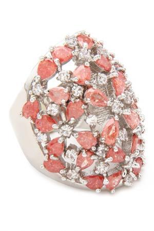 Кольцо Donna Lorena. Цвет: серебристый, коралловый