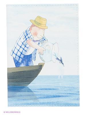 Обложка для паспорта Добрый рыбак Mitya Veselkov. Цвет: голубой
