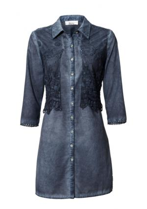 Удлиненная блузка Linea Tesini. Цвет: синий