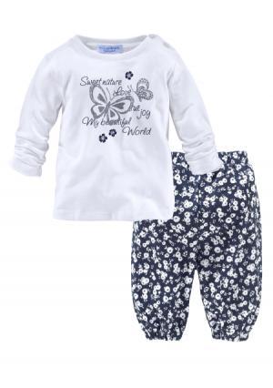 Комплект: кофточка + брюки KLITZEKLEIN. Цвет: белый + с рисунком