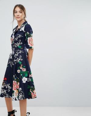 Uttam Boutique Платье-рубашка на пуговицах с цветочным принтом. Цвет: темно-синий
