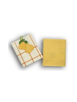 Набор полотенец Овощи-Фрукты из 2-х шт. 45*70 Bonita, вафельных BONITA. Цвет: белый, желтый