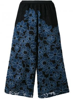 Укороченные брюки с цветочной вышивкой Antonio Marras. Цвет: синий