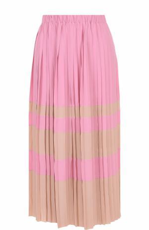 Плиссированная юбка-миди в полоску No. 21. Цвет: розовый