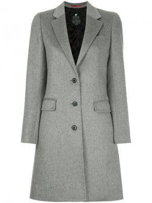 Однобортное пальто Loveless. Цвет: серый