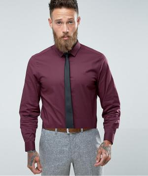 ASOS Бордовая облегающая рубашка с черным галстуком. Цвет: красный