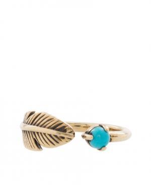 Кольцо из латуни и бирюзы Pamela Love. Цвет: золотой, бирюзовый