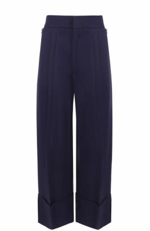 Укороченные брюки с защипами и отворотами Erika Cavallini. Цвет: синий