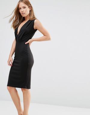 Alter Платье-футляр длины миди с V-образным вырезом. Цвет: черный