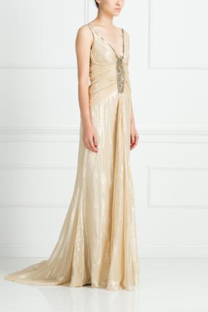 Шелковое платье Collette Dinnigan. Цвет: золотой
