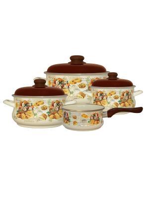 Набор посуды 7 предметов (2,0л, 3,5л, 5,5л + ковш 1,5л в подарок), мет.крышки METROT. Цвет: бежевый, коричневый