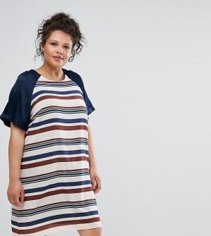 Elvi Платье А-силуэта в полоску. Цвет: мульти